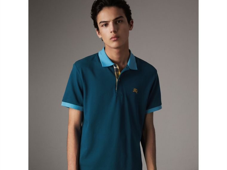 Two-tone Check Placket Cotton Piqué Polo Shirt in Mineral Blue - Men | Burberry Canada - cell image 4