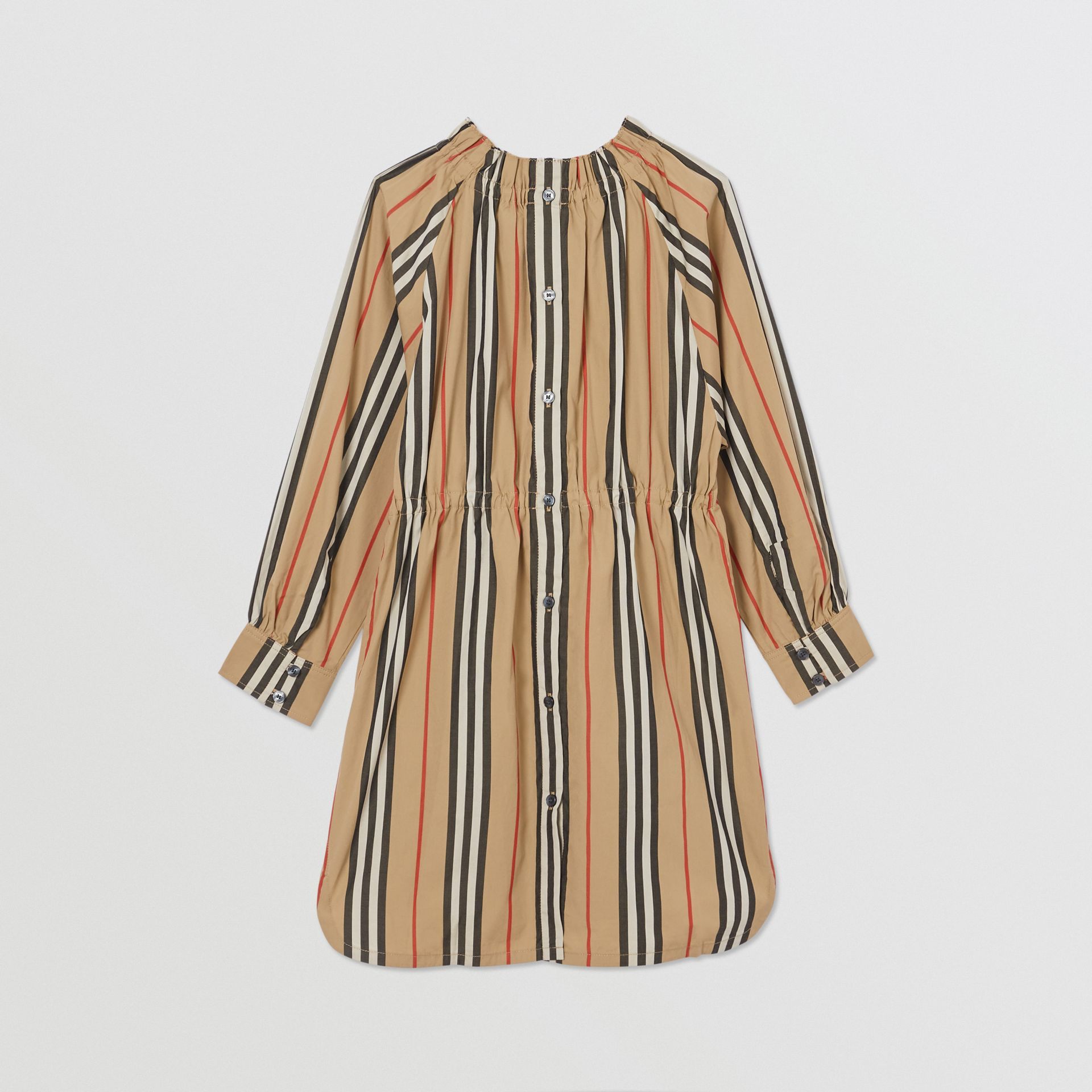 Icon Stripe Cotton Poplin Dress in Archive Beige | Burberry - gallery image 3