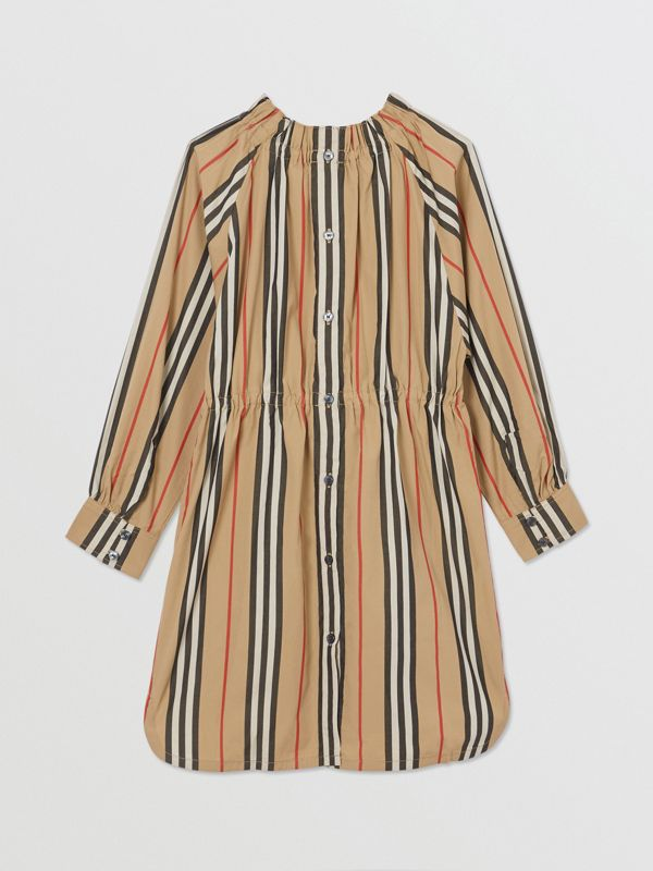 Icon Stripe Cotton Poplin Dress in Archive Beige | Burberry - cell image 3