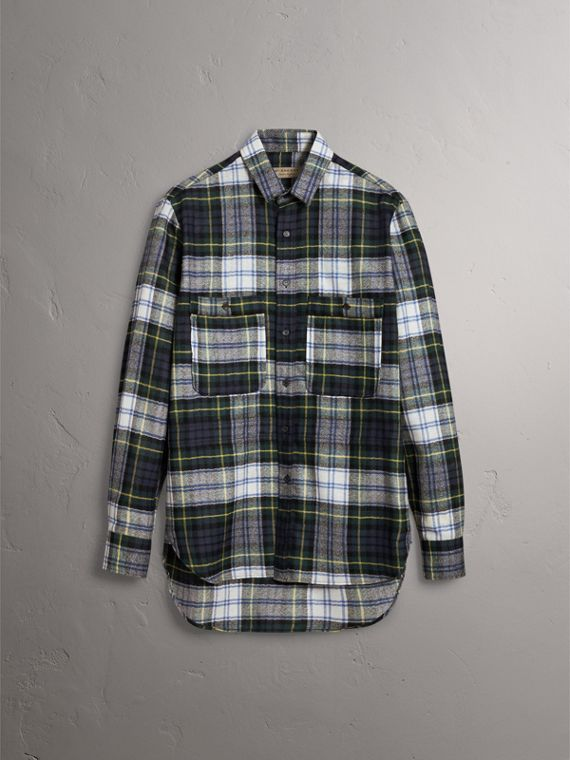 Tartan Wool Shirt in Ink Blue - Men | Burberry - cell image 2