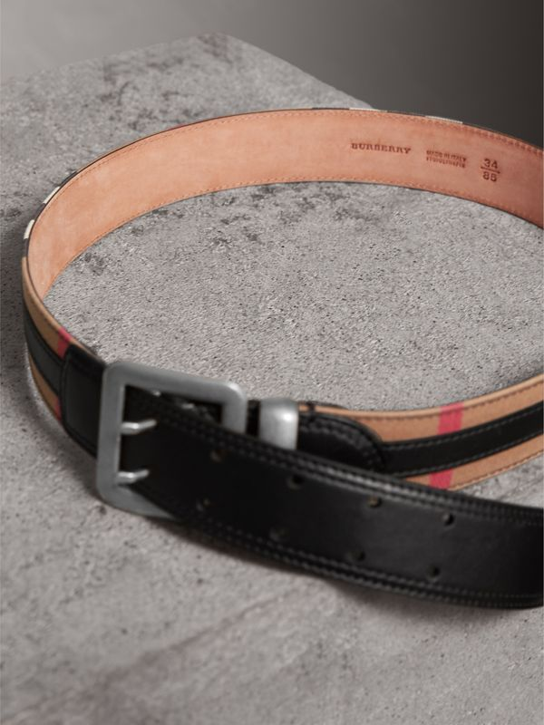 Topstitched House Check and Leather Belt in Black - Women | Burberry Australia - cell image 3