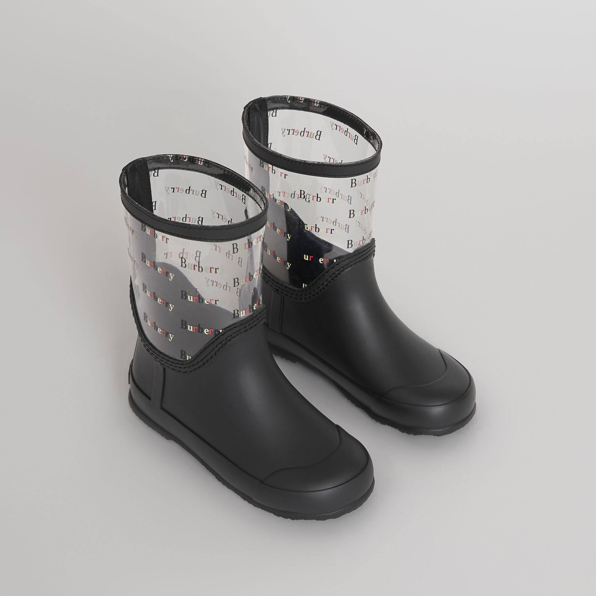 Logo Print Rubber Rain Boots in Black | Burberry Hong Kong - gallery image 0