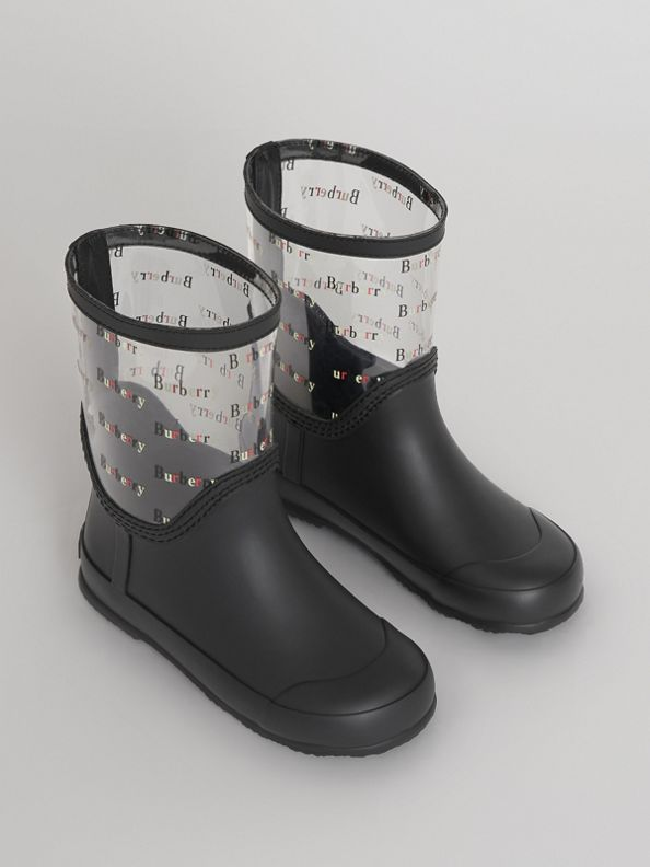 Logo Print Rubber Rain Boots in Black