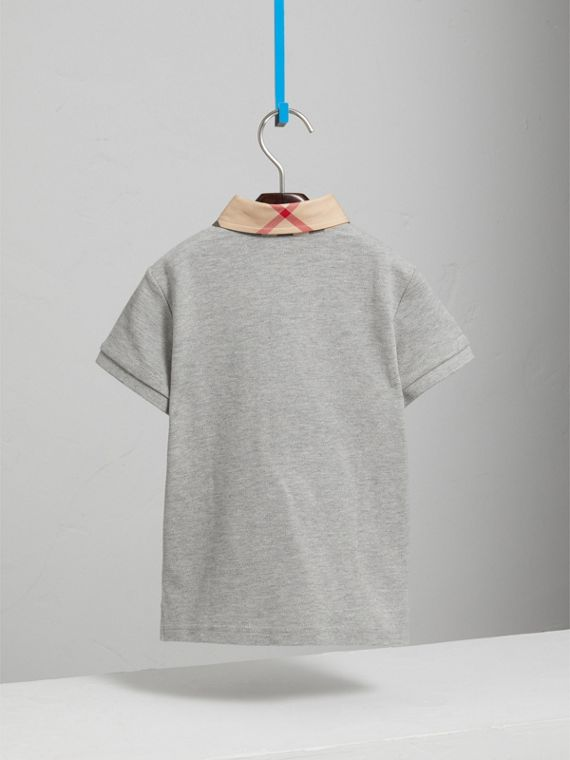 Check Collar Polo Shirt in Pale Grey Melange - Boy | Burberry Hong Kong - cell image 3