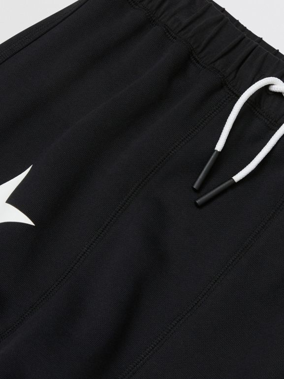 Kingdom and Star Print Cotton Trackpants in Black   Burberry Australia - cell image 1