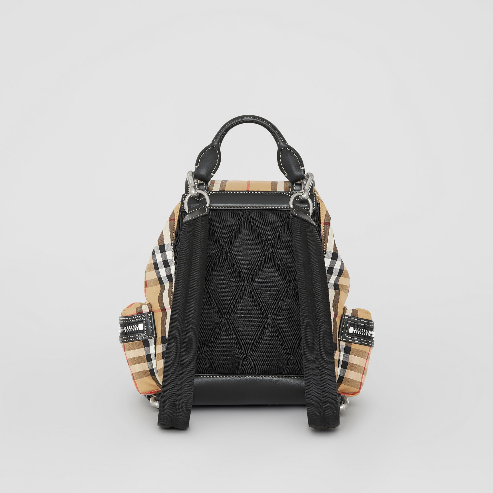 The Small Rucksack in Vintage Check and Leather in Antique Yellow - Women | Burberry Singapore - gallery image 8