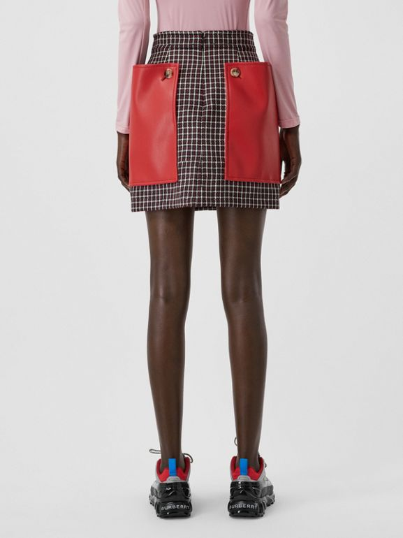 Pocket Detail Tartan Wool Mini Skirt in Bordeaux - Women | Burberry - cell image 1