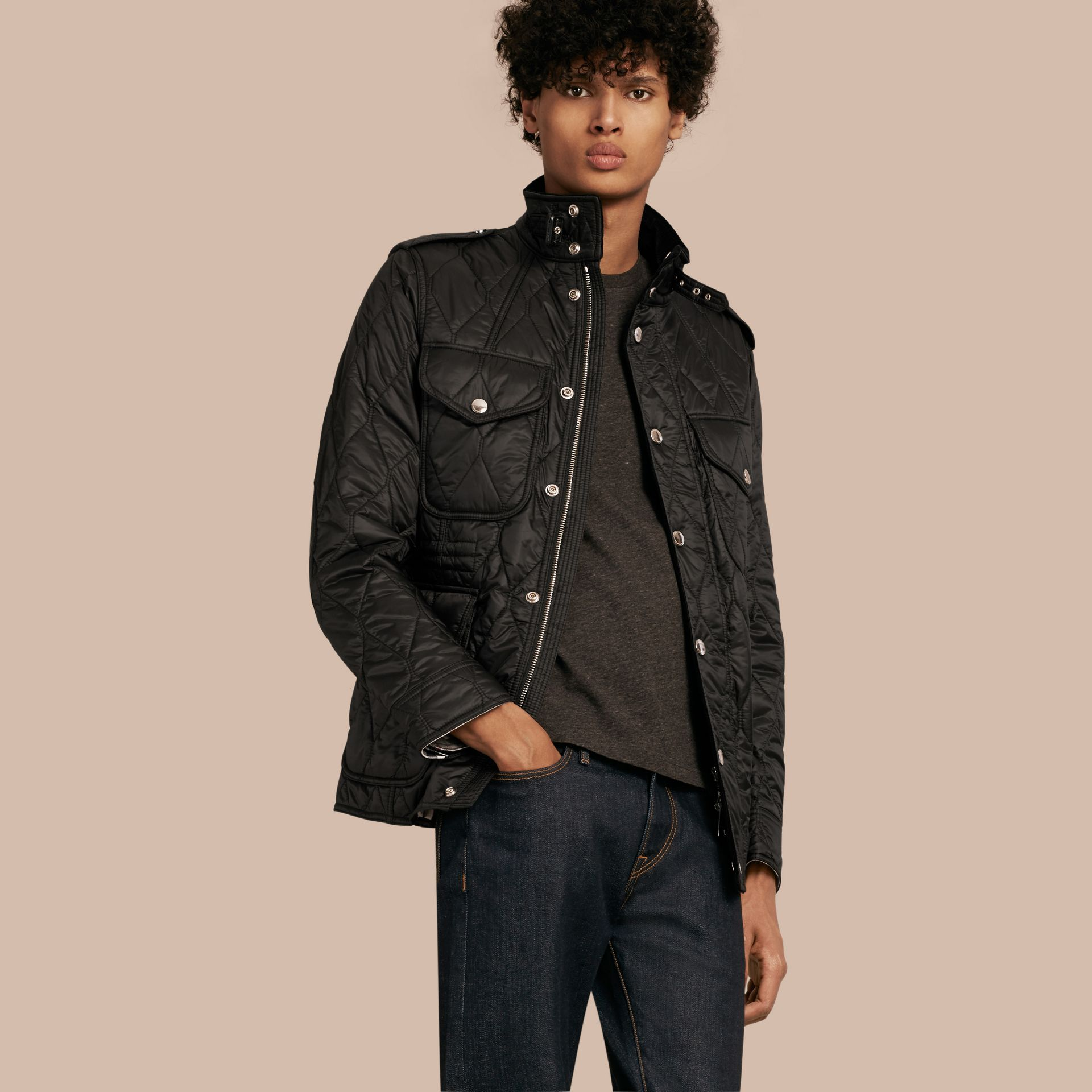 Diamond Quilted Field Jacket in Black - gallery image 1