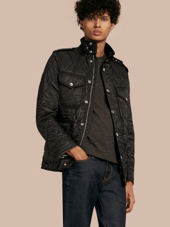 Diamond Quilted Field Jacket Black