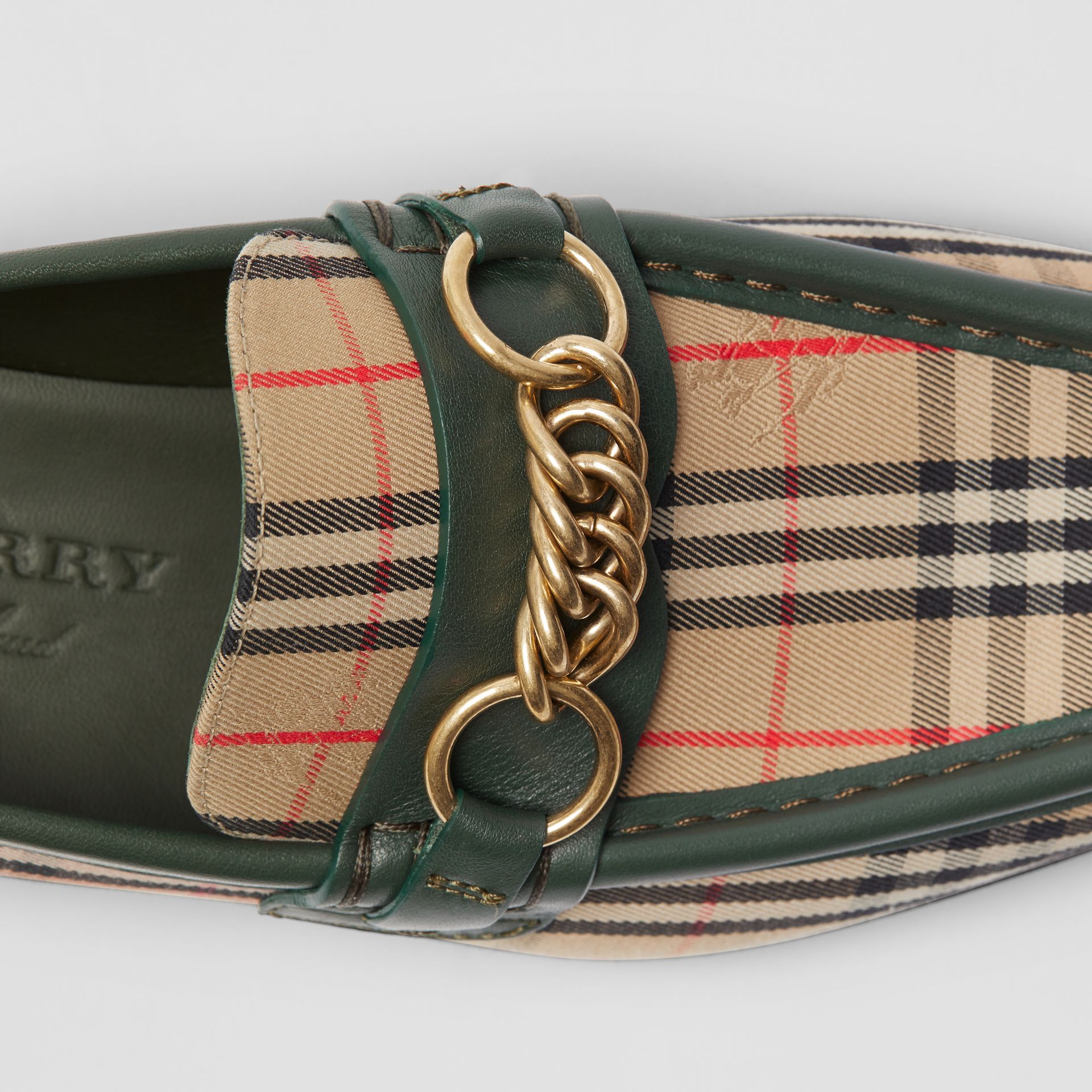 The 1983 Check Link Loafer in Dark Forest Green - Women | Burberry United Kingdom - gallery image 1