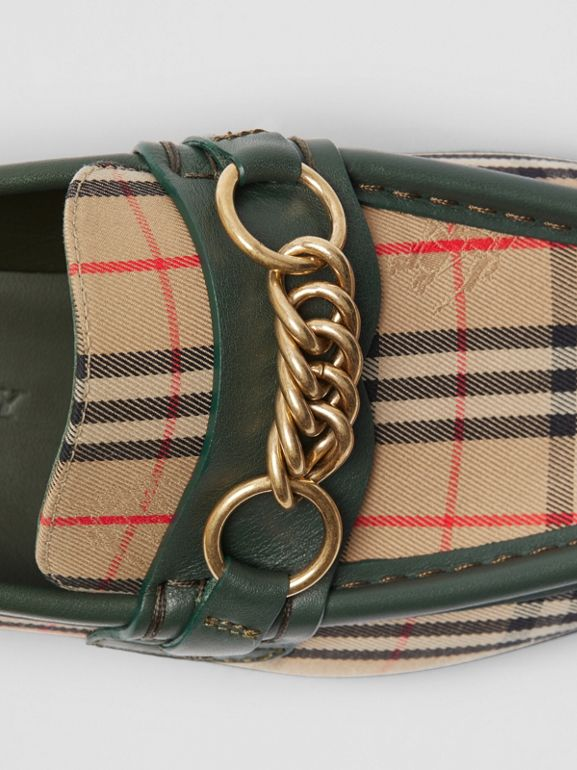 The 1983 Check Link Loafer in Dark Forest Green - Women | Burberry - cell image 1