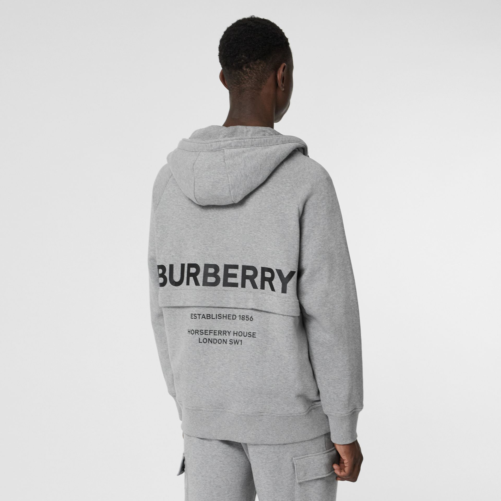 Horseferry Print Cotton Hoodie in Pale Grey Melange - Men | Burberry United States - gallery image 2