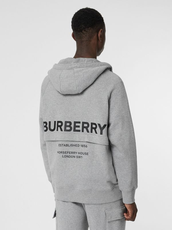 Horseferry Print Cotton Hoodie in Pale Grey Melange - Men | Burberry United Kingdom - cell image 2
