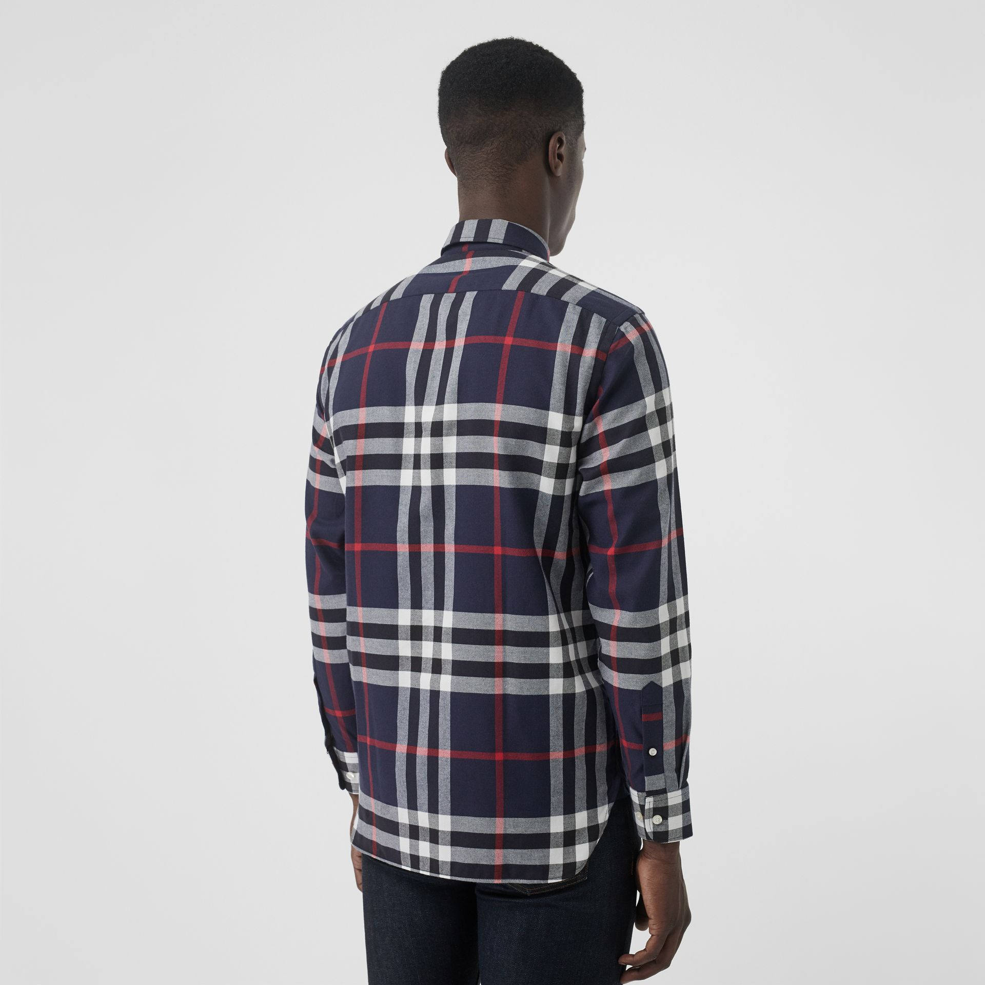 Check Cotton Flannel Shirt in Navy - Men | Burberry Canada - gallery image 2