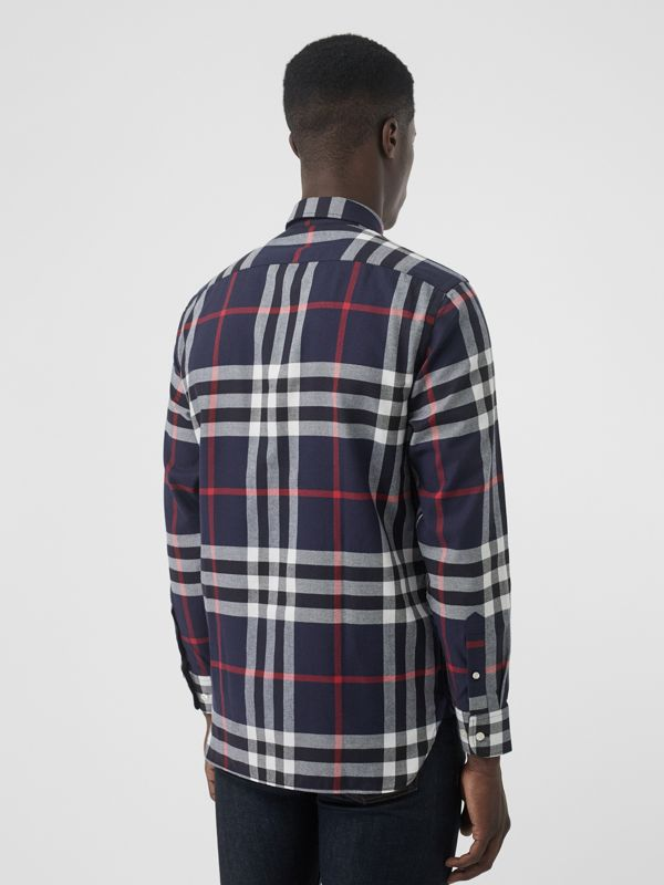 Check Cotton Flannel Shirt in Navy - Men | Burberry Australia - cell image 2