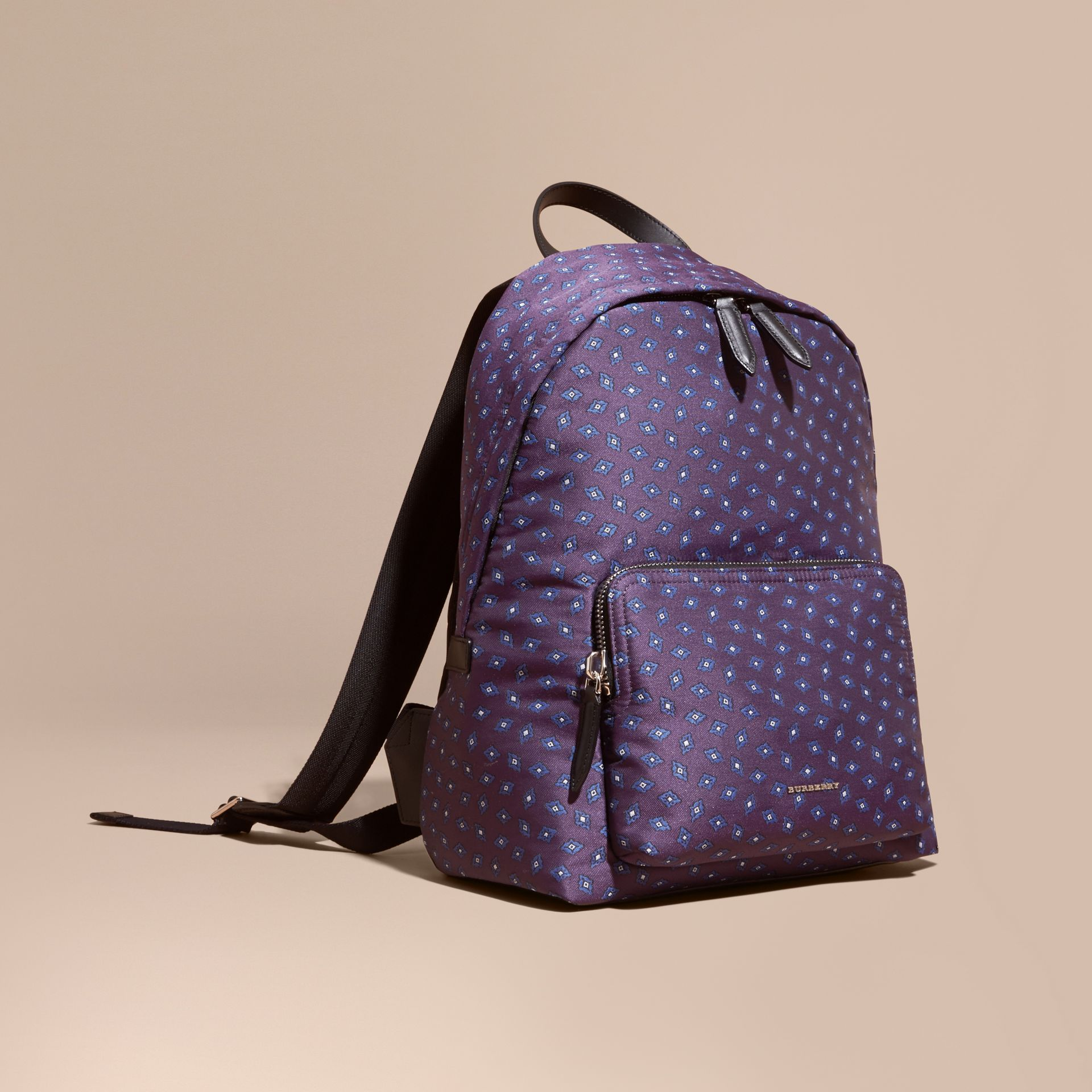 Deep aubergine Leather Trim Abstract Jacquard Backpack Deep Aubergine - gallery image 1