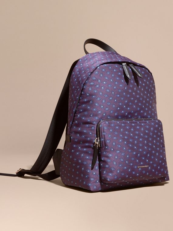 Leather Trim Abstract Jacquard Backpack Deep Aubergine