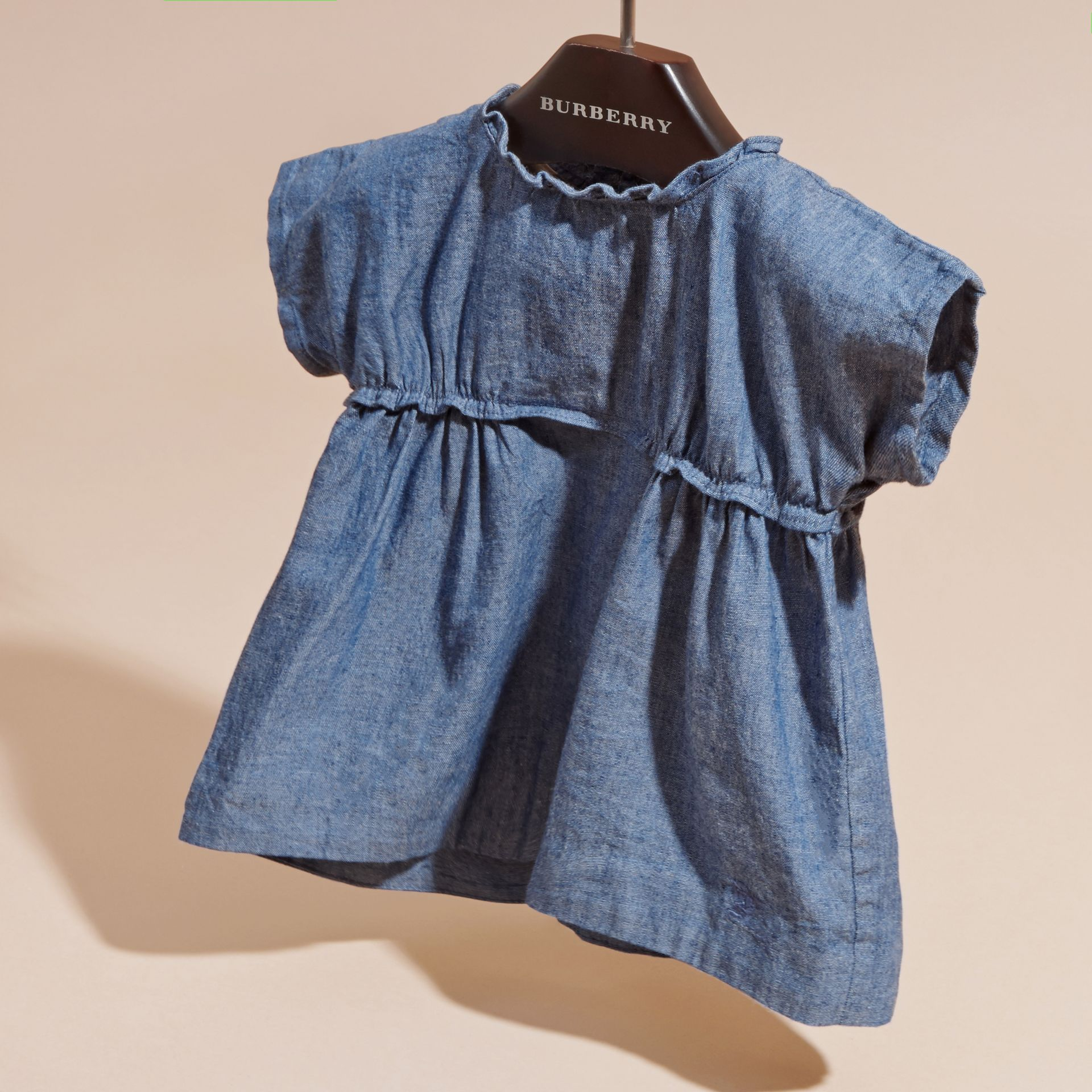 Stone blue Ruffle Detail Cotton Chambray Top - gallery image 3