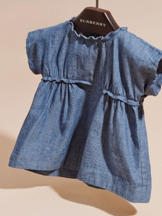 Stone blue Ruffle Detail Cotton Chambray Top - cell image 2
