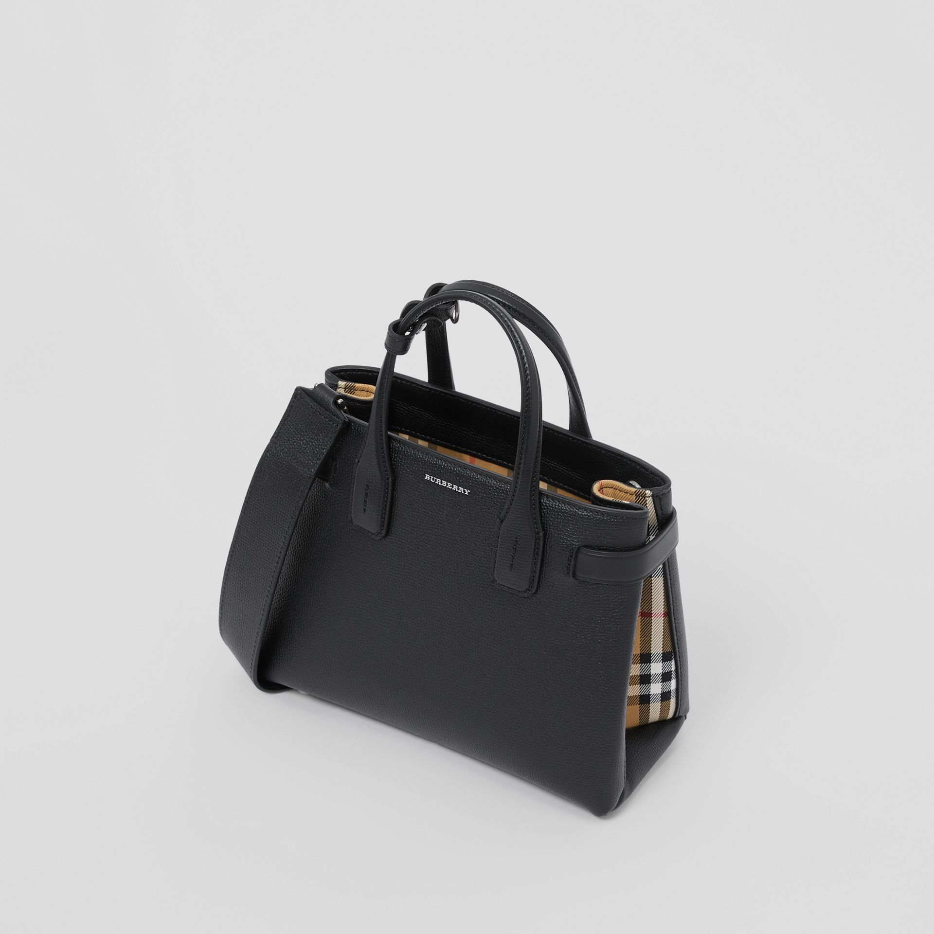 The Small Banner in Leather and Vintage Check in Black - Women | Burberry United States - gallery image 2