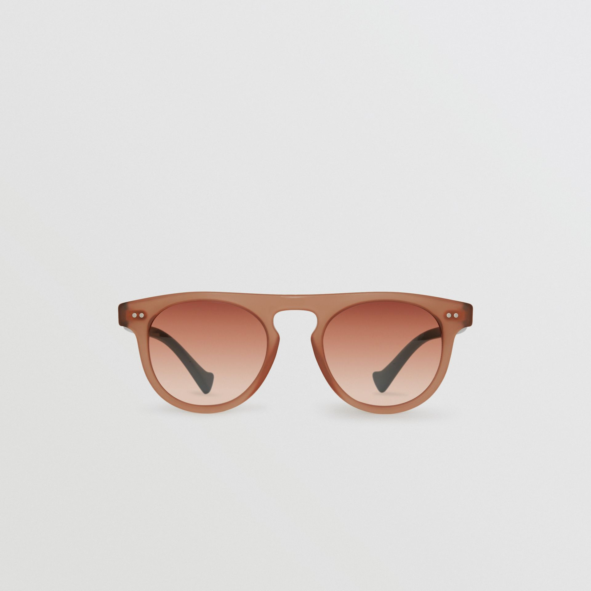 The Keyhole Round Frame Sunglasses in Brick Red | Burberry - gallery image 0