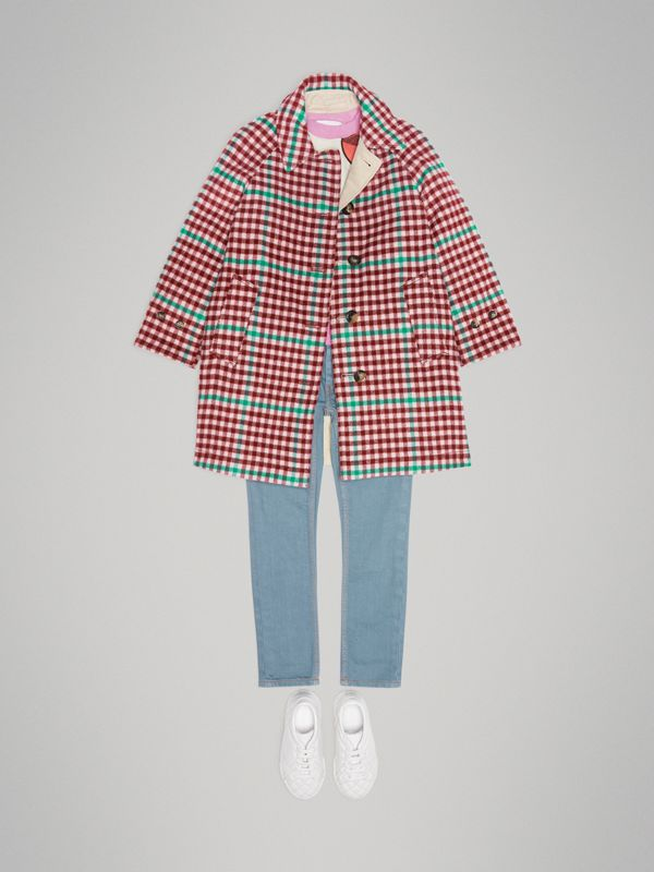 Reversible Check Wool and Cotton Car Coat in Garnet Pink | Burberry - cell image 2