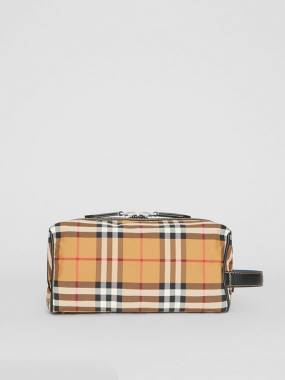 Vintage Check and Leather Pouch in Antique Yellow