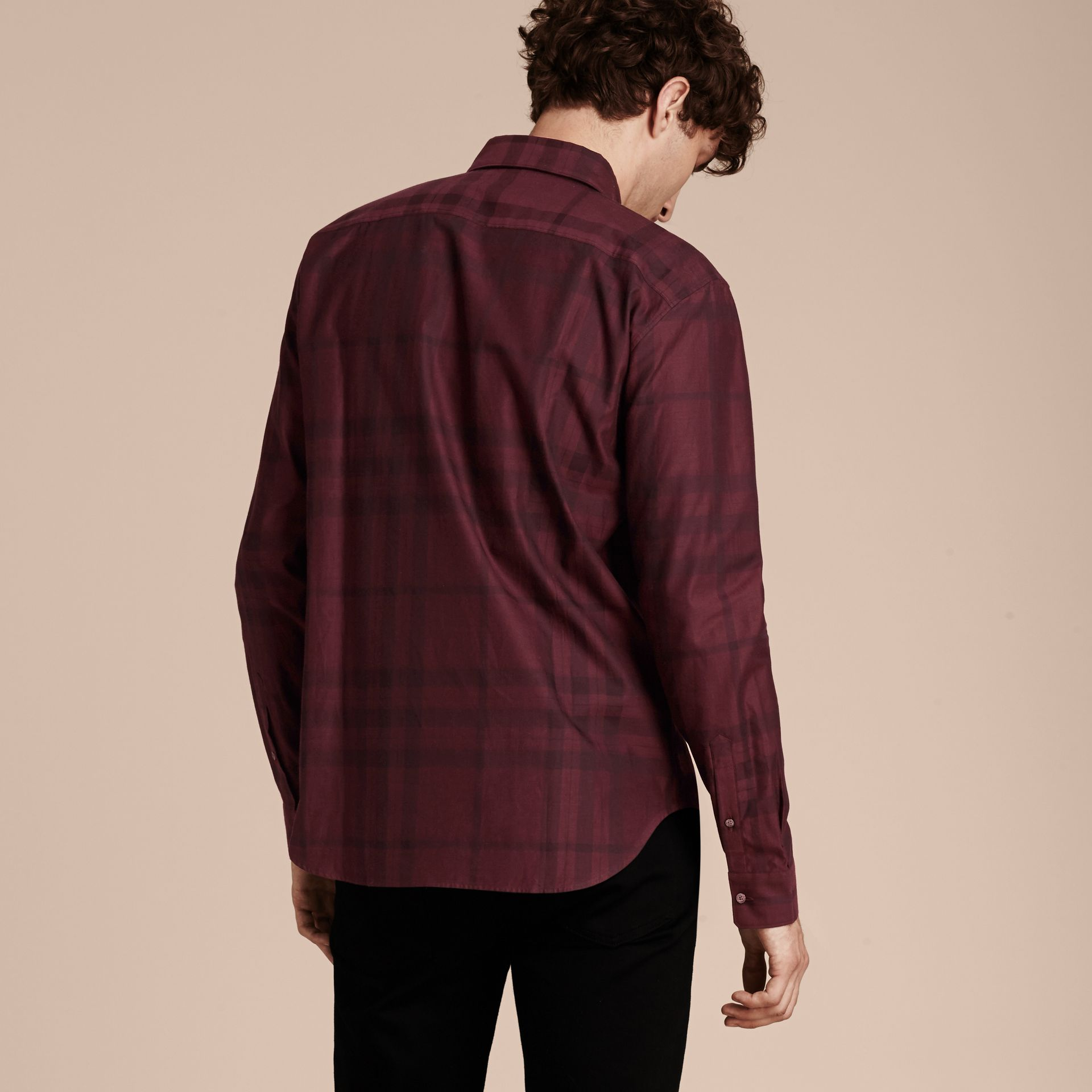 Deep burgundy Check Cotton Flannel Shirt Deep Burgundy - gallery image 3