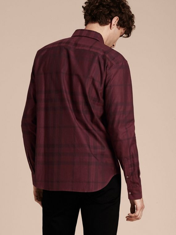 Deep burgundy Check Cotton Flannel Shirt Deep Burgundy - cell image 2