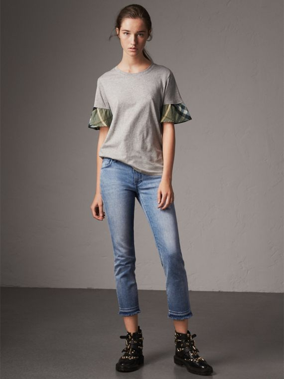 Flared-sleeve Check Detail Cotton T-shirt in Pale Grey Melange - Women | Burberry - cell image 3