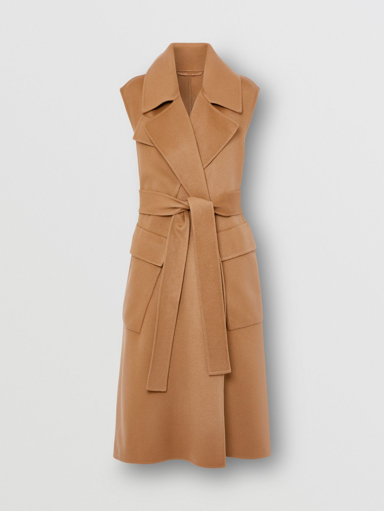 Sleeveless Double-faced Cashmere Wrap Coat in Camel