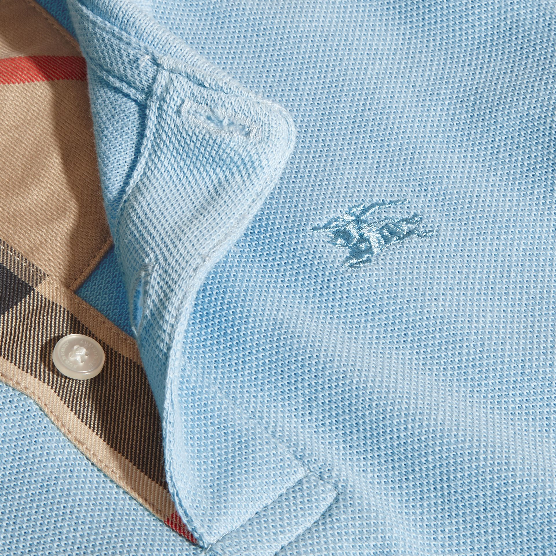 Check Placket Polo Shirt in Light Blue - gallery image 2