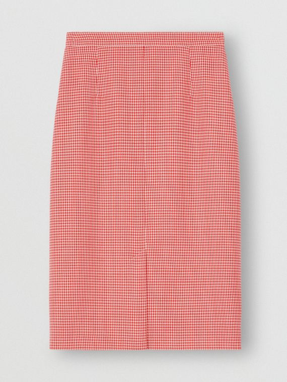 Two-tone Houndstooth Check Wool Pencil Skirt in Bright Red