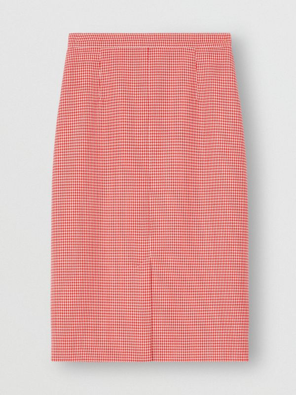 Two-tone Houndstooth Check Wool Pencil Skirt in Bright Red - Women | Burberry - cell image 3