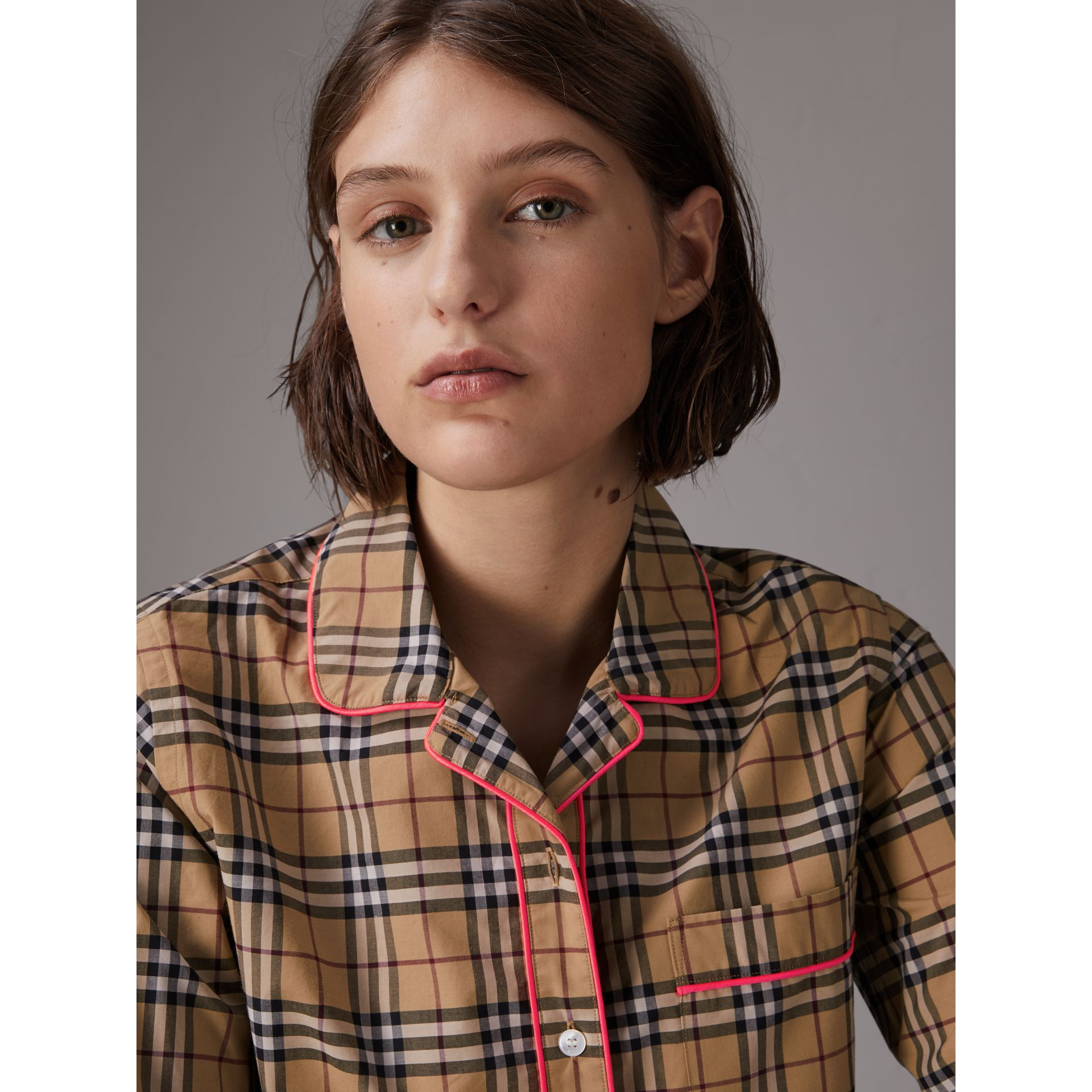 Contrast Piping Vintage Check Pyjama-style Shirt in Camel - Women | Burberry - gallery image 0
