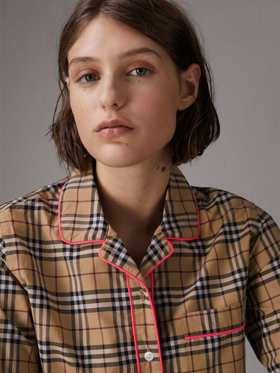 Contrast Piping Vintage Check Pyjama-style Shirt in Camel