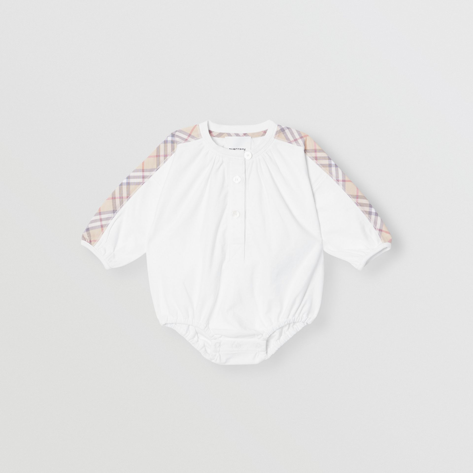 Check Detail Cotton Three-piece Baby Gift Set in White - Children | Burberry United States - gallery image 2