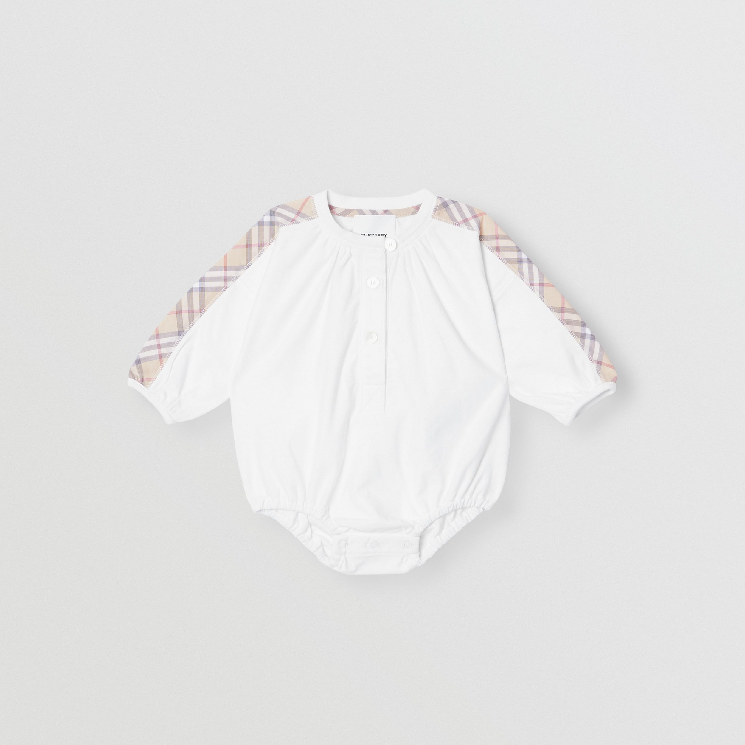 Check Detail Cotton Three-piece Baby Gift Set in White - Children | Burberry Australia - 3