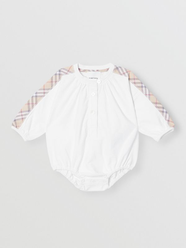 Check Detail Cotton Three-piece Baby Gift Set in White - Children | Burberry United States - cell image 2
