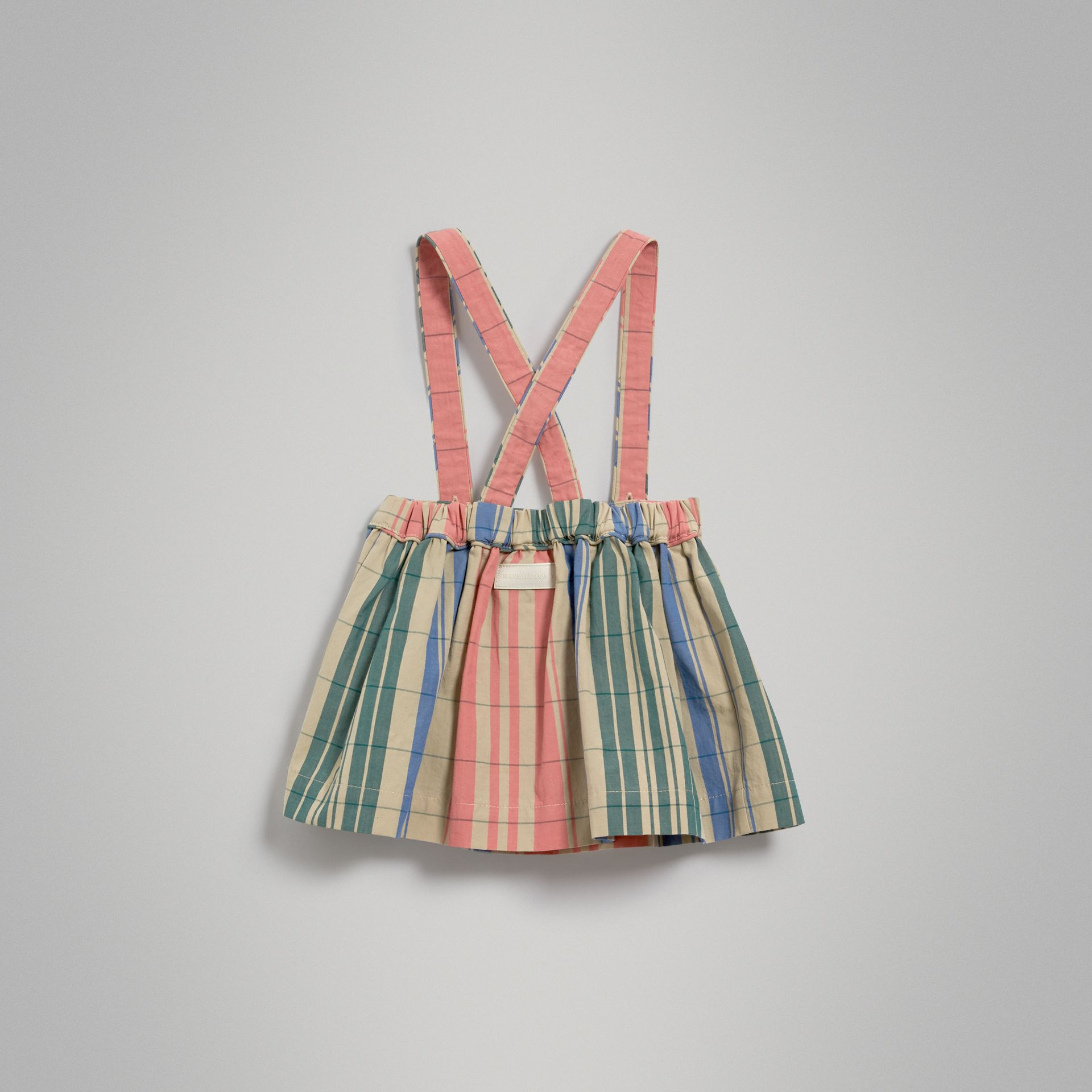 Check Gathered Cotton Pinafore Skirt in Bright Coral Pink | Burberry - gallery image 3