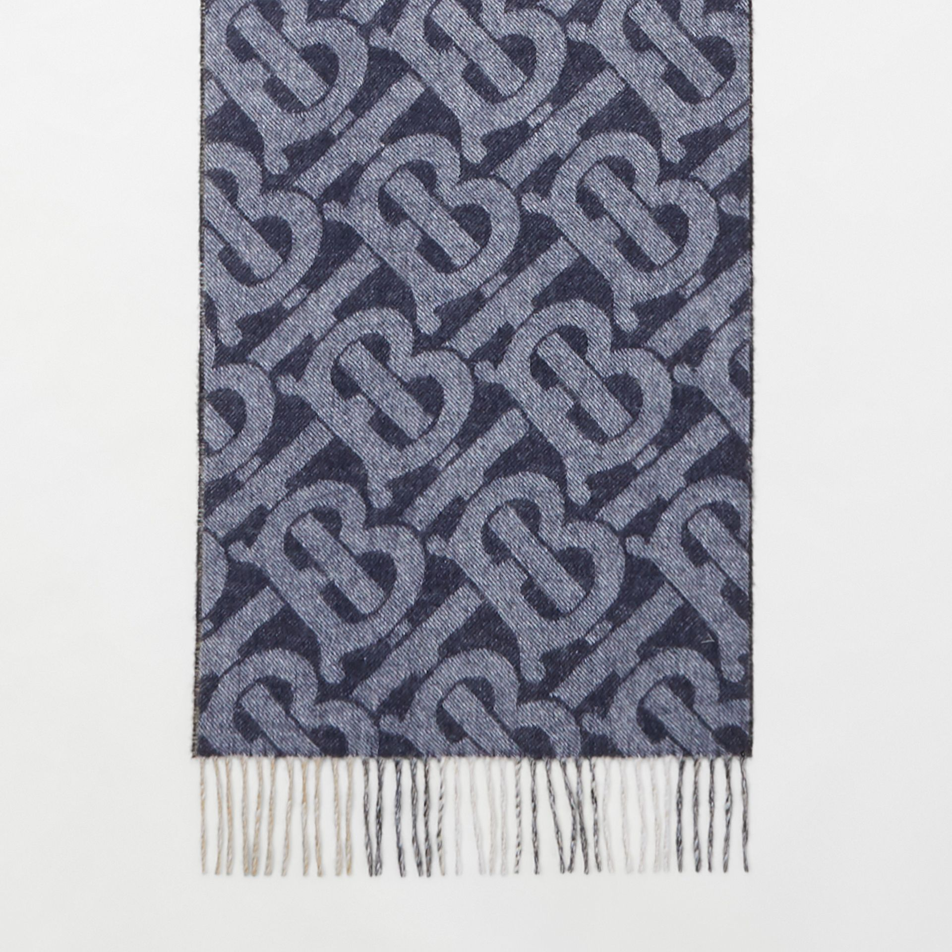 Reversible Check and Monogram Cashmere Scarf in Indigo | Burberry - gallery image 4