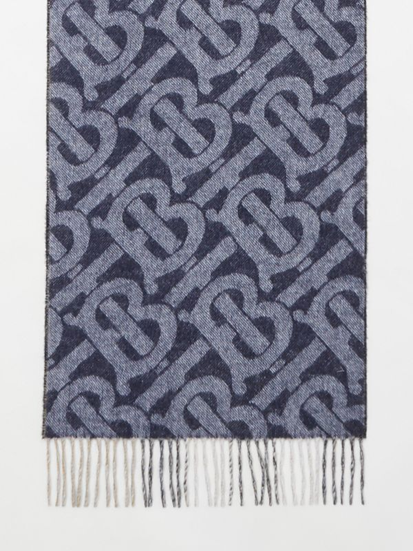 Reversible Check and Monogram Cashmere Scarf in Indigo | Burberry - cell image 2