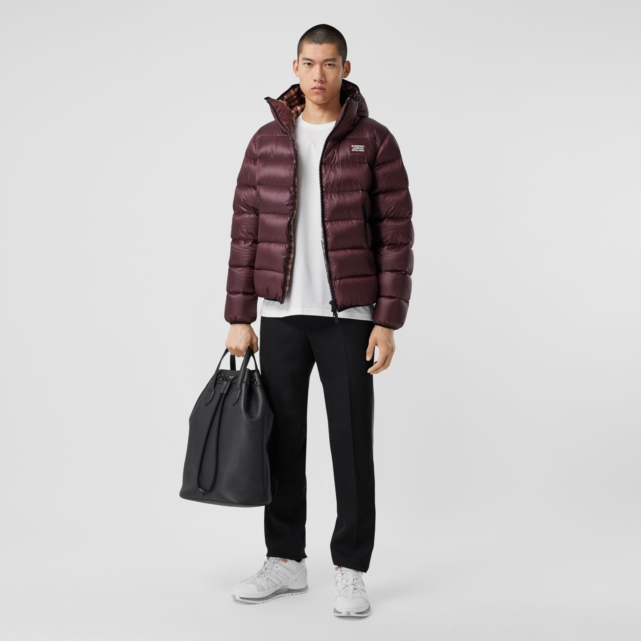 Logo Appliqué Hooded Puffer Jacket in Dark Plum | Burberry - 1