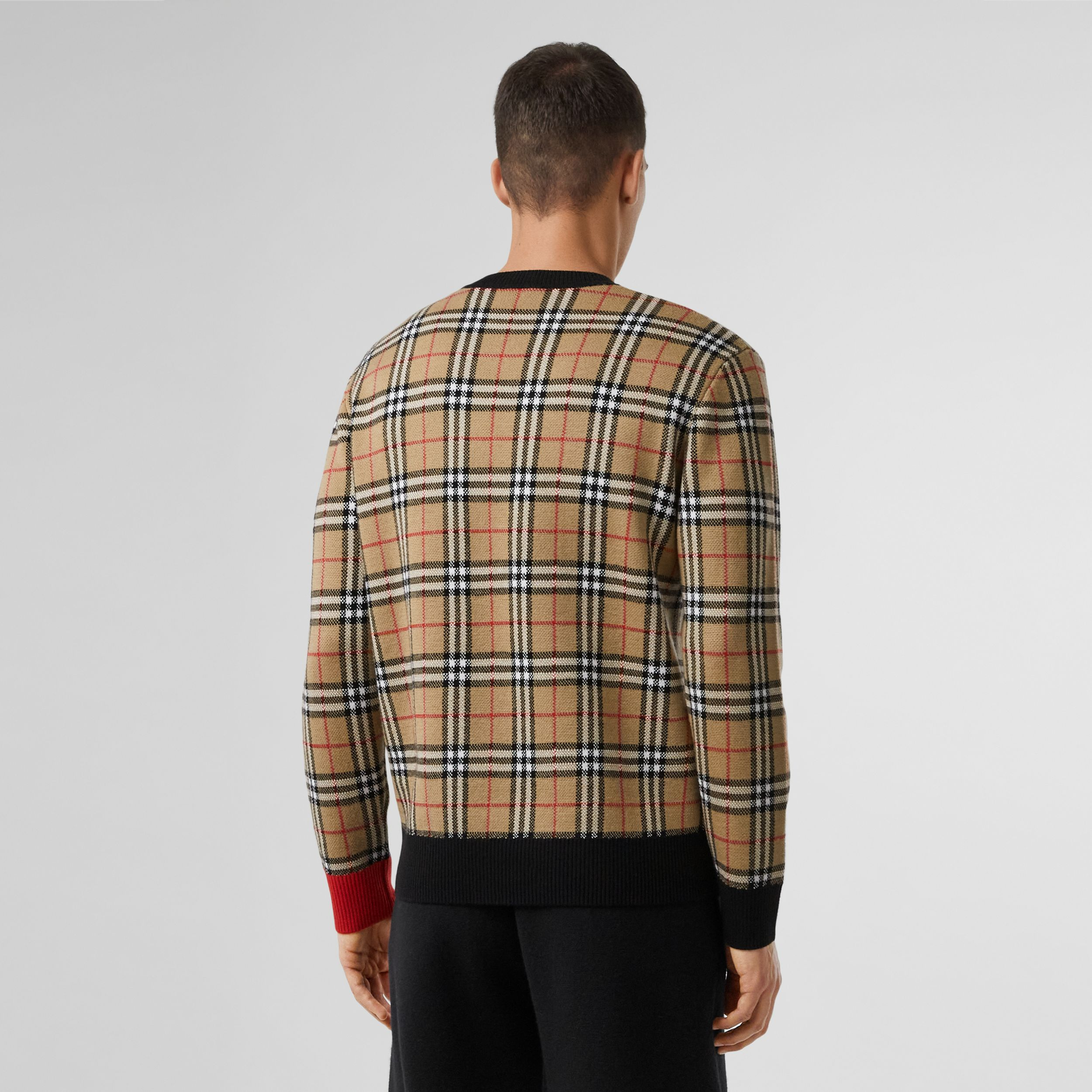 Logo Check Wool Cotton Jacquard Sweater in Archive Beige - Men | Burberry - 3