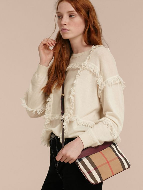 Clutch en coton House check et cuir (Rouge Acajou) - cell image 2