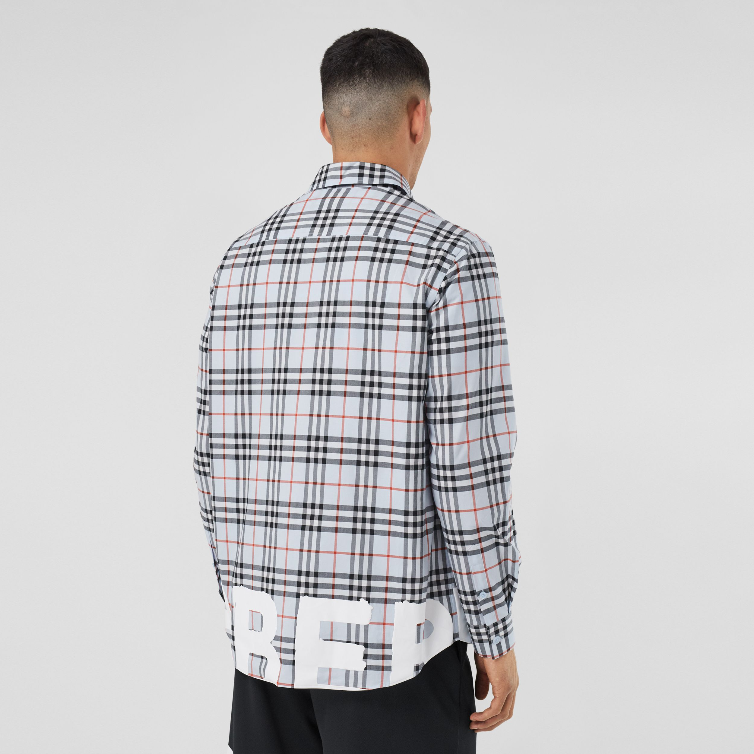 Logo Print Vintage Check Cotton Oversized Shirt – Online Exclusive in Pale Blue - Men | Burberry United Kingdom - 3