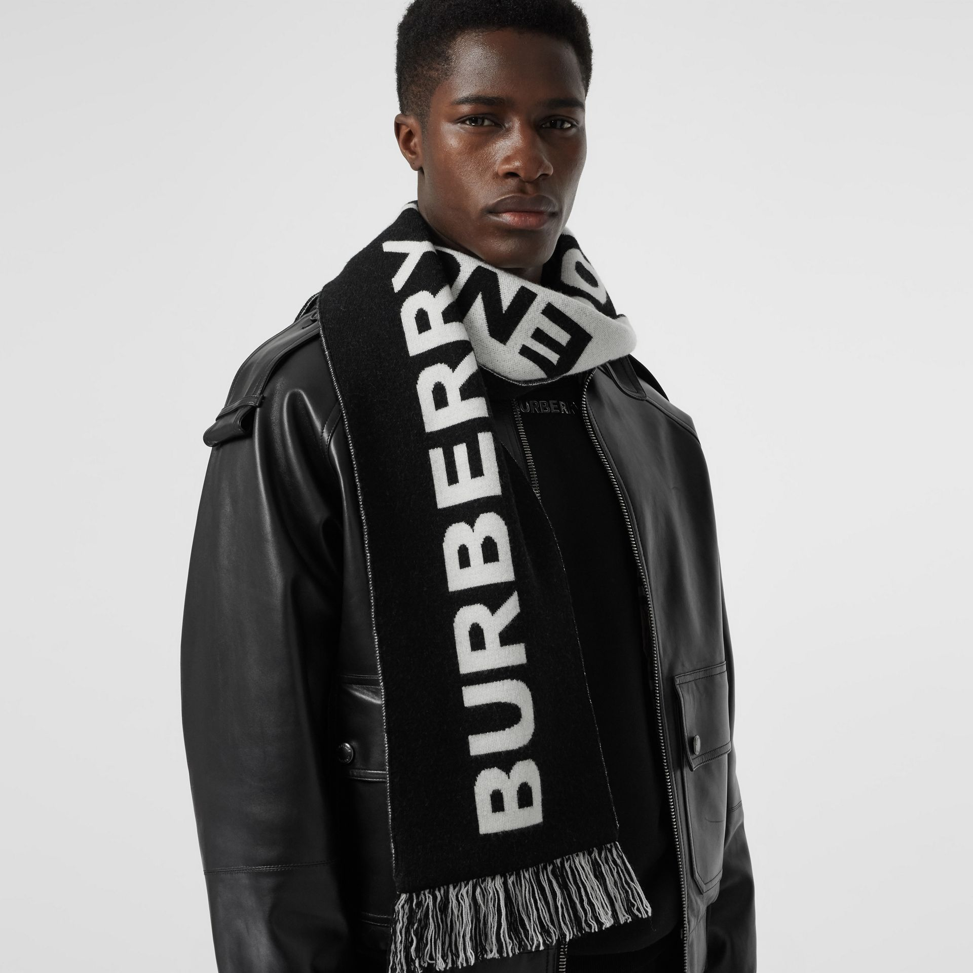 Logo Merino Wool Jacquard Scarf in Black/white | Burberry United States - gallery image 6