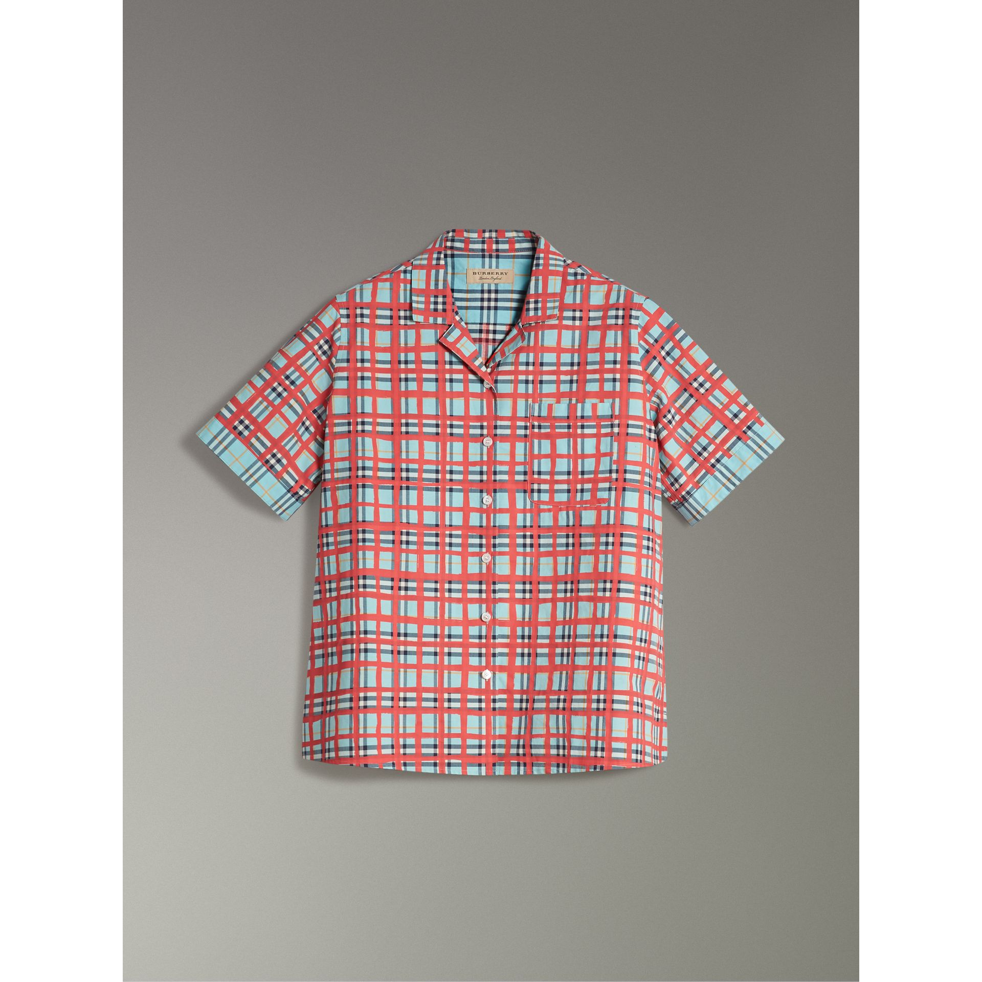 Short-sleeve Check Cotton Shirt in Bright Aqua - Women | Burberry - gallery image 3