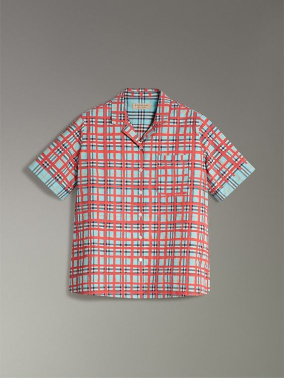 Short-sleeve Check Cotton Shirt in Bright Aqua - Women | Burberry - cell image 3