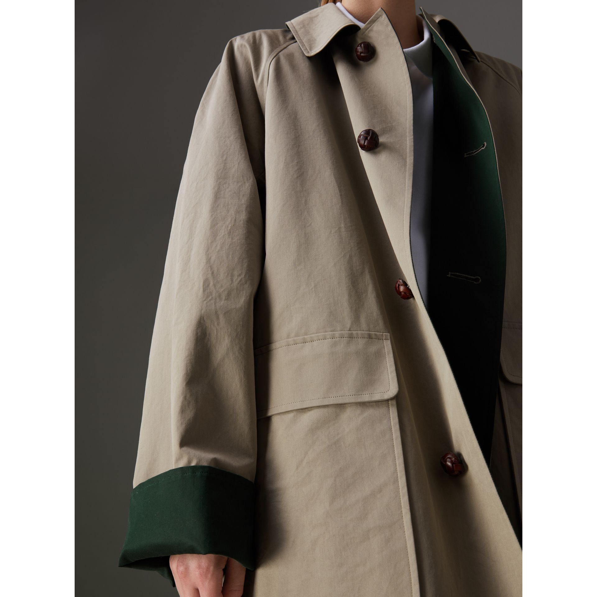 Reissued Waxed Cotton Gabardine Car Coat in Khaki - Women | Burberry Australia - gallery image 1